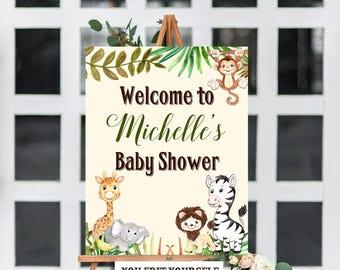 Jungle Baby Shower Welcome Sign Template, Baby Shower Sign, Baby Shower Welcome Sign, Giraffe, Elephant, Monkey, Zebra, Safari, Jungle, DIY