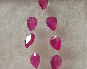 Natural Indian Flawless Ruby 4X3 Pear Faceted Set Of 7 Pieces