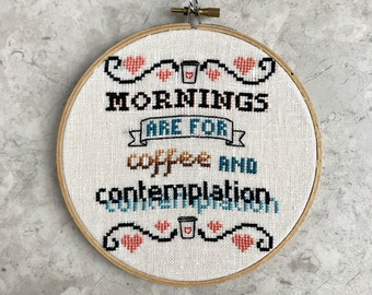 Mornings are for Coffee & Contemplation cross stitch pattern - threadordeadclub Stranger Things cross stitch pattern PDF - instant download