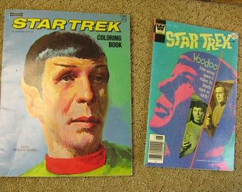 """1975 Star Trek Coloring Book, Authorized Edition & I'll throw in a 1977 S.T. Whitman Comic """"VooDoo"""""""