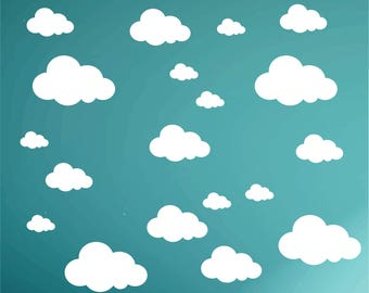 Cloud WALL DECALS - Pack of 21 clouds - kids bedroom playroom clouds - kids vinyl cloud decals - Nursery - Wall decoration - boys girls