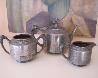 REDUCED Tea Service Set Victorian Aesthetic Movement Meriden B Co.