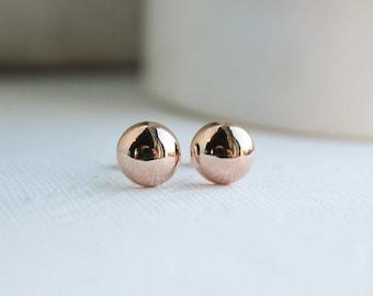 Rose Gold Earrings, Rose Gold Studs, Wedding Earrings, Bridal Earrings, Rose Gold Earrings, Everyday Earrings, Bridesmaid Earrings PD