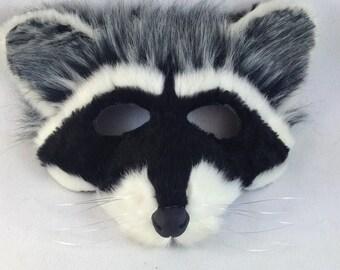Realistic raccoon mask, adult raccoon eye mask with fur