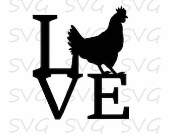 Chicken Love SVG/DXF/EPS