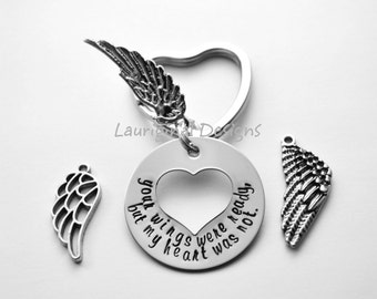 Memorial key chain - angel wing key chain - hand stamped stainless steel - choice of wing style