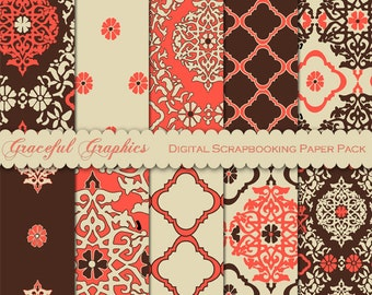 Scrapbook Paper Pack Digital Scrapbooking Background Papers Asian LANTERN Damask 10 Sheets 8.5 x 11 Orange Brown White 1621gg