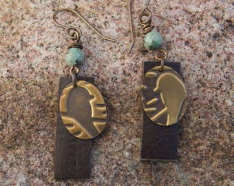 Antique Brass and Leather Bird Earrings
