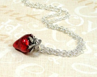 Red Strawberry Necklace, Silver and Red Enameled Strawberry Charm on a Silver Cable Chain