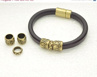 3pc Heart Tube Set - Antique Brass - fits Licorice Leather or 10MM Round Cord