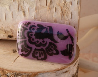 Purple Baroque fused glass brooch