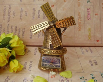 """Vintage Hungarian brass wall decor,Thermometer,""""Windmill"""""""