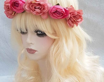 Pink and orange ribbons of lace flowers headband headband