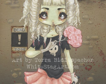 Zombie goth girl lowbrow  art print- undead cute little girl with brain on spork