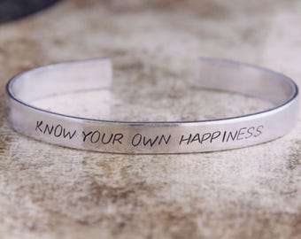 Know Your Own Happiness / Inspirational Jewelry / Inspirational Quote / Motivational Jewelry / Quote Jewelry