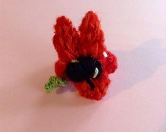 Australian flower ring, Sturt pea felted ring