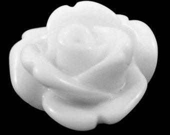 White Resin Rose Cabochons 10mm
