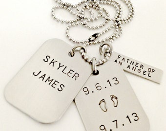 Personalized Dog Tags - Hand Stamped Dad Daddy Memorial Remembrance Infant Child Loss Necklace - Father of an Angel - Footprints Necklace