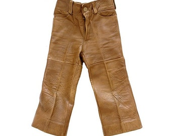 vtg KIDS LEATHER PANTS 5_6 years old genuine camel leather