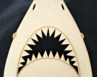 Great White Shark Head, Wood Cutout, Laser Cut, Animal Shapes, Beach House, DIY, Unfinished, Crafters, Paint it, by Liahona Laser on Etsy