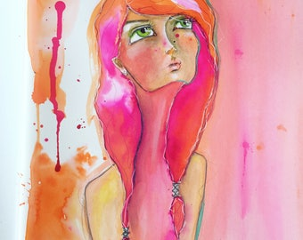 Whimsical art illustration girl art print ink drawing portrait painting pink girl illustration
