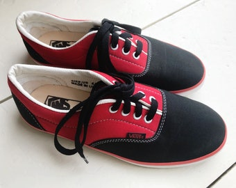 "80's Deadstock Original Vans ""Off The Wall"" Red & Black Canvas Sneakers Made In USA Women's 6.5/7"