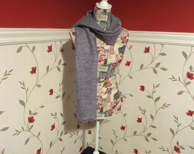 Wool Scarf Shawl - Irish Tweed - UNISEX scarf - Womans - mens - 100% wool - Soft - light purple