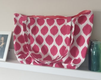 Handmade Pink and White Lined Tote Bag - with internal pocket
