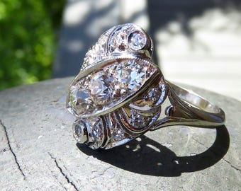 Vintage Engagement Ring in 14k Gold and Diamonds; .92 Carats; Art Deco Ring; Natural Gemstones; Statement Ring; Antique Ring
