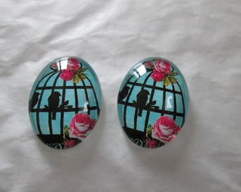 2 cabochons glass 25 x 18 mm caged birds pattern