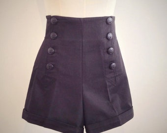 BLACK SAILOR SHORTS, high waist, 1940's style swing pants.