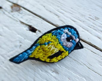 Handmade, Wearable Art, OOAK, Hand Embroidered, Blue Tit Bird, Pin Brooch, Badge