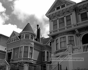 San Francisco Victorian Houses black and white photography