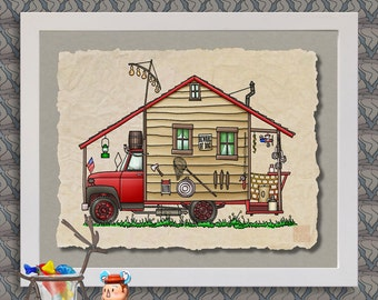 Redneck Camper happy camper art Cute whimsical travel trailer camper prints add fun to RV, trailer or cabin as 8x10 & 13x19 wall decor