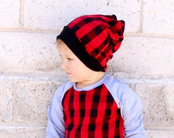 Slouchy baby beanie -Toddler beanie - Buffalo plaid hat