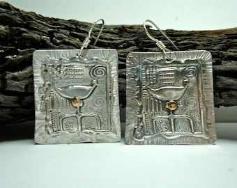 Folk Art Duck Earrings - PMC and Sterling Silver Dangles - Riveted Silver Square Earrings