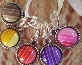 5  knitting stitch markers. Gradient stripes