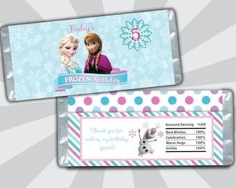 Frozen Candy Bar Wrapper - Elsa Anna Olaf Candy Bar Wrapper - Birthday Candy Bar Wrapper