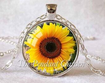 SUNFLOWER NECKLACE Sunflower Pendant Flower Jewelry Yellow Sunflower Sun Flower Pendant Yellow Orange Brown Sunflower Lover Gift