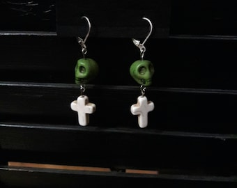 White Cross with Green Skull Earrings