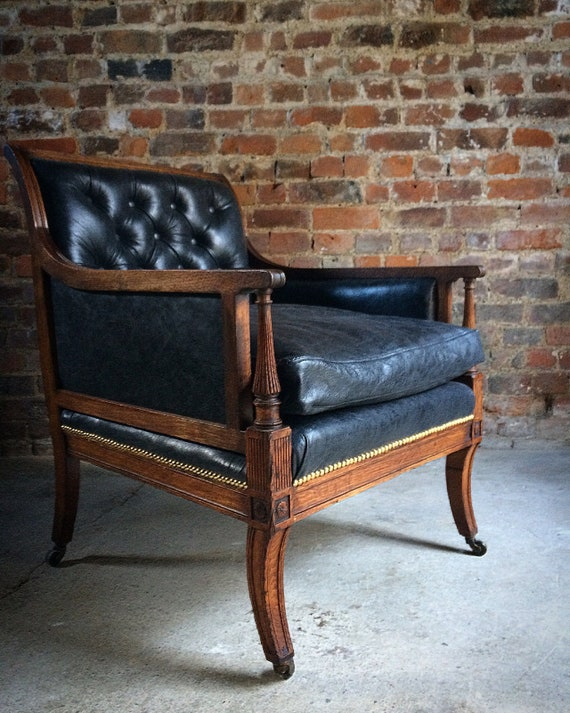 - Antique Library Chair Lounge Club Leather Oak Early Victorian