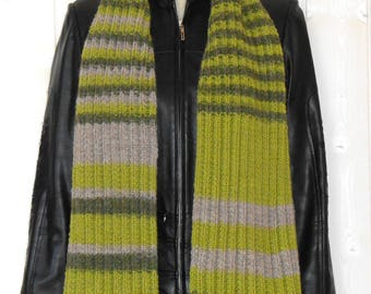 Mixed green and grey scarf knitted by hand