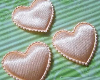 LOT 5 hearts embellishment salmon satin 40 35mm