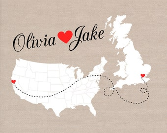 Long Distance Relationship Gift, Custom Maps, Wedding Gift, Engagement Gift -  Personalized Print, Linen, Anniversary Gift for Husband