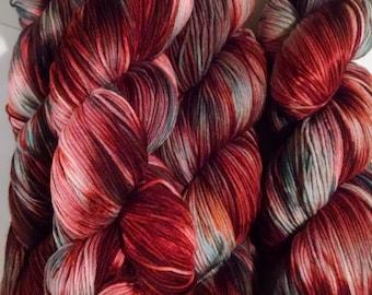 "Christmas Yarn ""Holly Berries""  433yds Sock Yarn"
