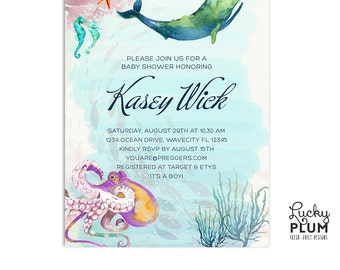 Ocean Baby Shower Invitation / Whale Baby Shower Invitation / Nautical Baby Shower Invitation / Couples Coed *Digital WH02