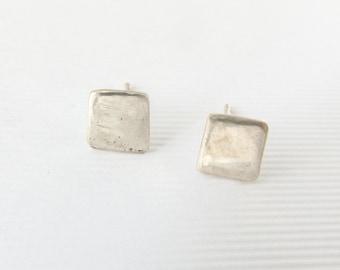 Recycled silver studs- Minimalist jewellery- Tiny square studs - Geometric earrings- Minimal earrings- Ethical jewellery- Square earrings