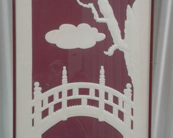 "Asian Paper Art Titled ""Bridge ""/Numbered/ Signed/ Bridge/ Pond/Cloud/ Tree"