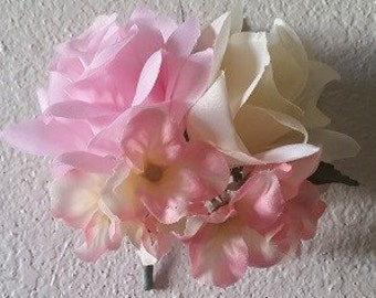 Light Pink Ivory Rose Hydrangea Corsage or Boutonniere