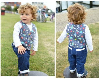 BUNDLE RED ROVER Vest and Pants Children Baby Boy Girl sewing pattern Pdf, Fully lined Pants 0-6yrs, Fully Lined Reversible Vest 0-10yrs